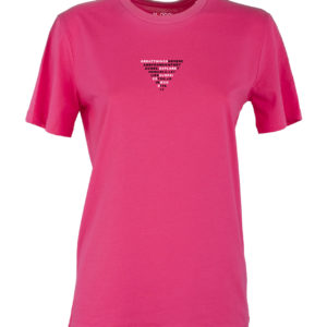Basic T-shirt Donna stampa TRIANGLE Rosa acceso